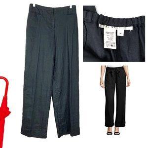 Max Studio Black 100% Linen Pants Sz M